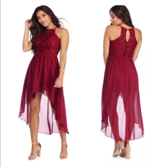 787e872889cc Windsor Dresses | Burgundy High Low Sequined Chiffon Dress | Poshmark